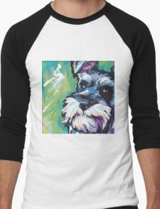 Schnauzer Bright colorful pop dog art Men's Baseball ¾ T-Shirt