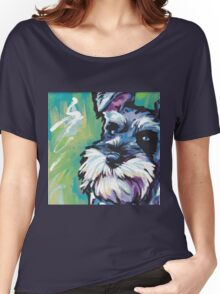 Schnauzer Bright colorful pop dog art Women's Relaxed Fit T-Shirt