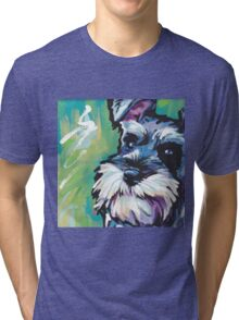 Schnauzer Bright colorful pop dog art Tri-blend T-Shirt