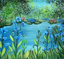 Garden of blue poppies by maggie326