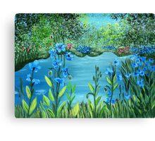 Garden of blue poppies Canvas Print