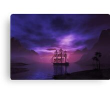 Clipper Ship at Sunset Canvas Print
