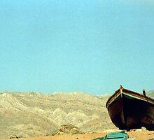 Boat and mountain by Maliha Rao