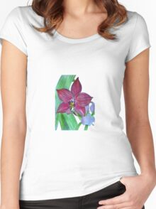 Terrestrial Pink Orchid Flower Women's Fitted Scoop T-Shirt