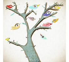 Retro Grungy Birds in a Mixed Media Rustic Tree Photographic Print