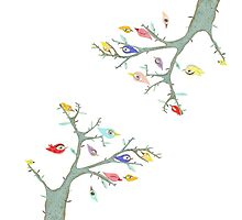 Retro Grungy Birds in a Mixed Media Rustic Tree by rupydetequila