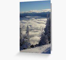 Cloudy Valley below Hurricane Ridge in Winter Greeting Card