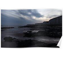 Last light at Burling Gap, East Sussex, UK Poster