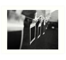 Ten Little Polaroids Hanging On the Line Art Print