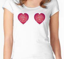 Red Rose Deco Hearts 1 Women's Fitted Scoop T-Shirt
