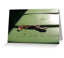 Gecko On A Bin Greeting Card