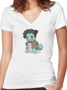 Squirtle Who Women's Fitted V-Neck T-Shirt