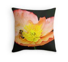 Bee Asleep in a Flower Throw Pillow