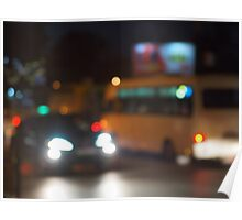 Abstract night scene with bus and headlight Poster