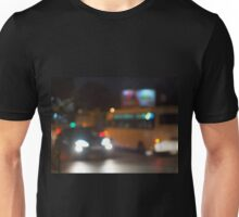 Abstract night scene with bus and headlight Unisex T-Shirt