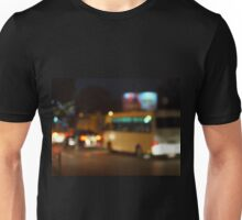 Abstract and blur night scene with bus and headlights Unisex T-Shirt