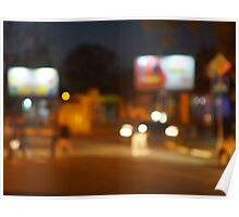 Abstract urban night scene with blurred headlights on the road Poster
