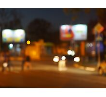 Abstract urban night scene with blurred headlights on the road Photographic Print