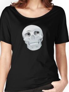 White skull looking up Women's Relaxed Fit T-Shirt