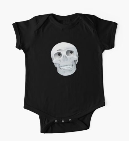 White skull looking up One Piece - Short Sleeve