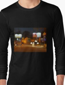 Abstract urban night scene with blurred headlights on the road Long Sleeve T-Shirt