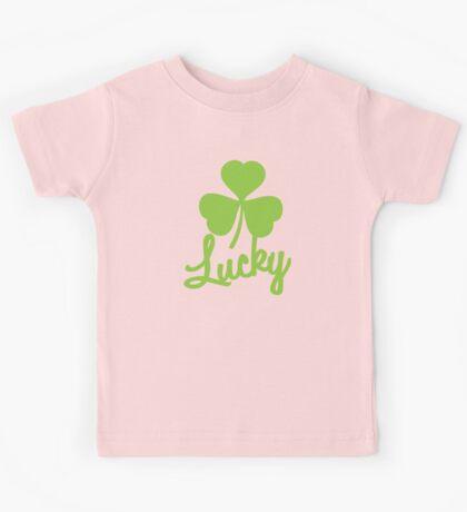 Lucky with a green shamrock Kids Tee