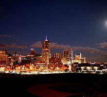 Full Moon over Downtown Denver Skyline  by designkase