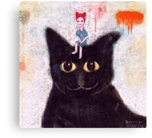 woman and cat. Canvas Print