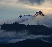 sunset over fox glacier  south westland  nz by rina  thompson