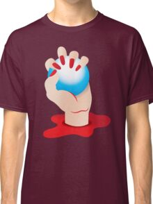 Hand grasping Blue ORB in blood with blood red fingernails Classic T-Shirt