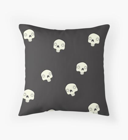 Cute Sugar Skull Black Throw Pillow
