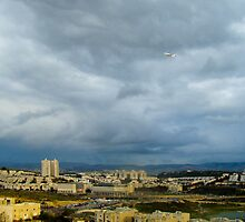 Plane over Modi'in on a rainy day by PenguinVic