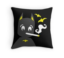 Chibi batman costume smoking a cigarette  Throw Pillow