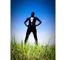 Black Snakeskin Zentai in the Field 1-4 Photographic Print