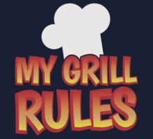 My GRILL RULES! with bbq chefs hat Kids Tee