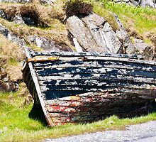 Boat, Wooden dinghy,Abandoned, Rotting, Roadside, by Hugh McKean
