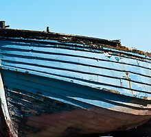 Boat, Wooden dinghy, ashore, rotting  by Hugh McKean