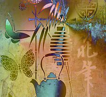 Teapot, Lamp & Butterfly.Digital Art.Japanese  series6. by Vitta