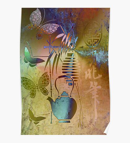 Teapot, Lamp & Butterfly.Digital Art.Japanese  series6. Poster
