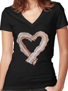 Bacon Heart Women's Fitted V-Neck T-Shirt