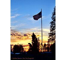 Old Glory Sunset Photographic Print