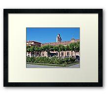 Stork nest, Cervantes Plaza, Alcala de Henares, Madrid, Spain Framed Print