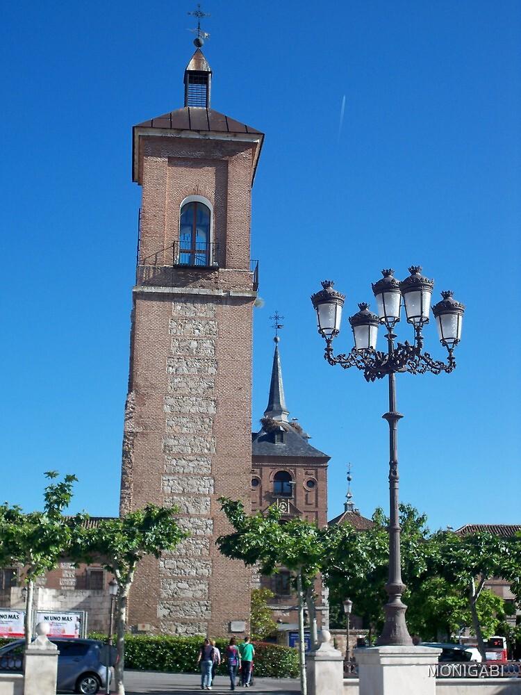 Tower of Judge's Chapel, Cervantes Plaza, Alcala de Henares, Madrid, Spain by MONIGABI