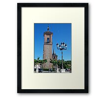 Tower of Judge's Chapel, Cervantes Plaza, Alcala de Henares, Madrid, Spain Framed Print