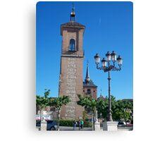 Tower of Judge's Chapel, Cervantes Plaza, Alcala de Henares, Madrid, Spain Canvas Print