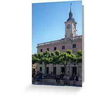City Hall, Cervantes Plaza, Alcala de Henares, Madrid, Spain Greeting Card