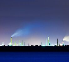 The oil refinery at night by benedictwells
