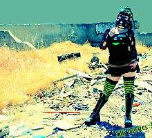 Post apocalyptic with Cyber Goth Krystal Lee Born by Lilly  Fuentes-Joy