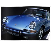 blue porsche car Poster