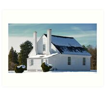 House in Winter Snow Art Print
